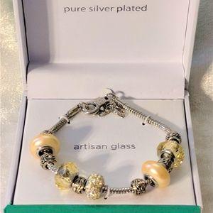 NIB Artisan Glass Silver Plated Charm Bracelet